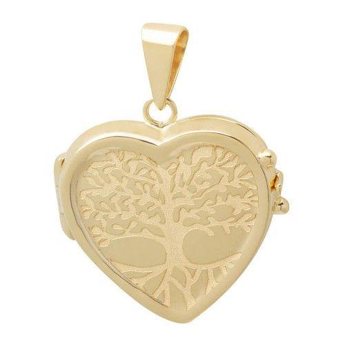 Pingente em Ouro 18k/750 Relicário Coração Gravado Árvore da Vida