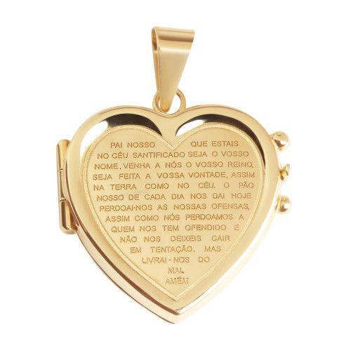 Pingente em Ouro 18k/750 Relicário Coração Gravado Pai Nosso