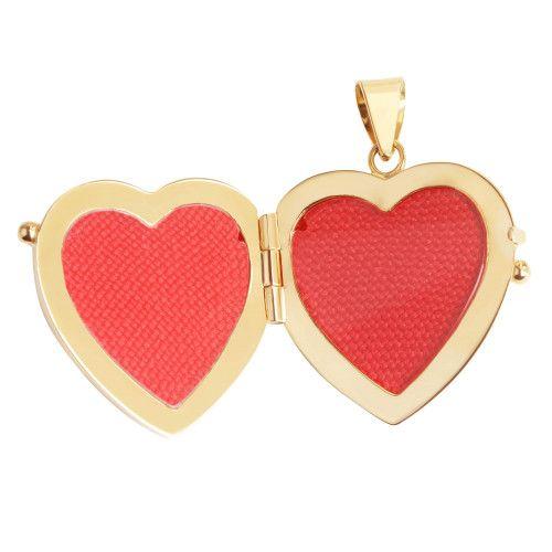 Pingente em Ouro 18k/750 Relicário Coração Personalizado com Iniciais