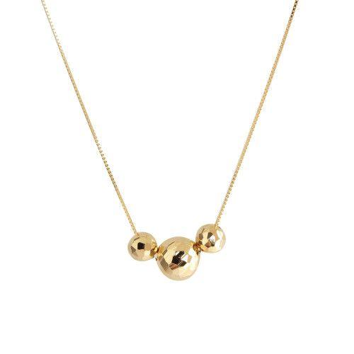 Gargantilha em Ouro 18k/750 Três Bolas Diamantada