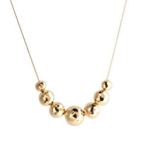 Gargantilha em Ouro 18k/750 Sete Bolas Diamantada 45cm Com Ajuste em 40cm