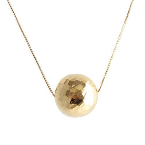 Gargantilha em Ouro 18k/750 1 Bola Diamantada 45cm Com Ajuste em 40cm