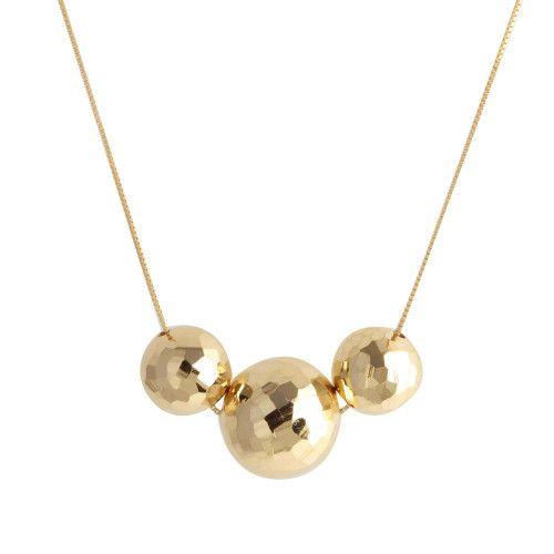 Gargantilha em Ouro 18k/750 Três Bolas 9mm Diamantada