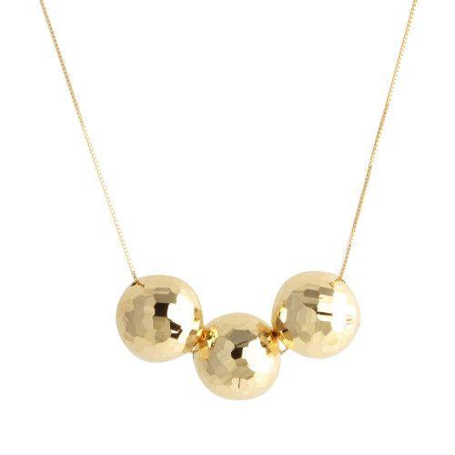 Gargantilha em Ouro 18k/750 3 Bolas Diamantada 45cm Com Ajuste em 40cm