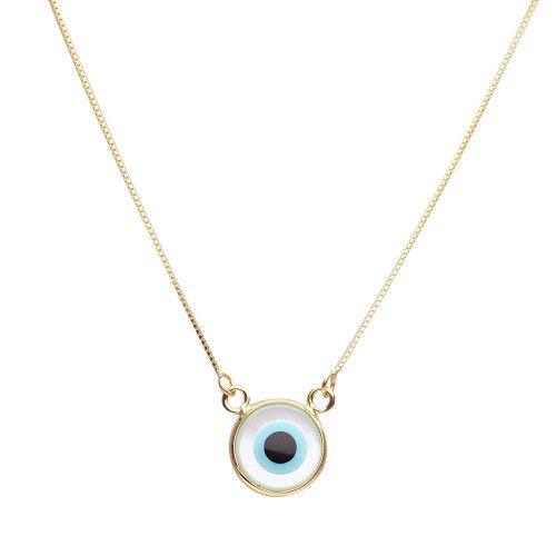 Gargantilha em Ouro 18k/750 Olho Grego Redondo Pequeno