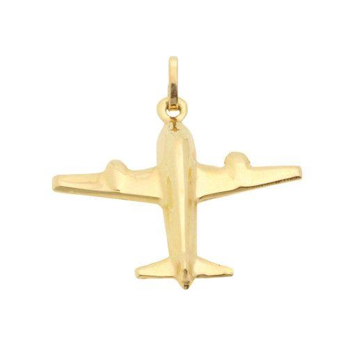 Pingente em Ouro 18k/750 Avião Liso