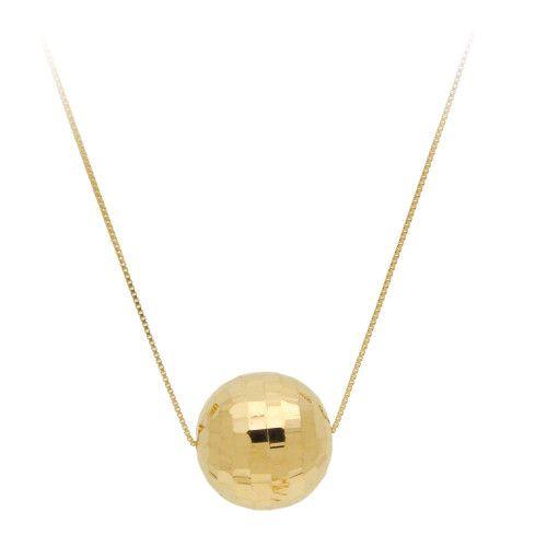 Gargantilha em Ouro 18k/750 Bola Diamantada 12mm