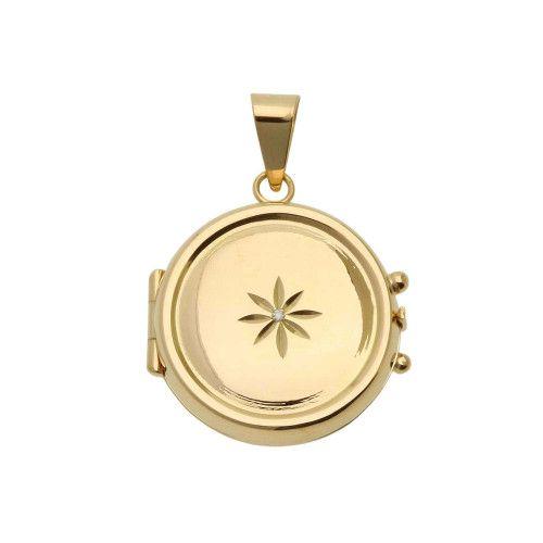 Pingente em Ouro 18k/750 Relicário Redondo Estrela com Diamante