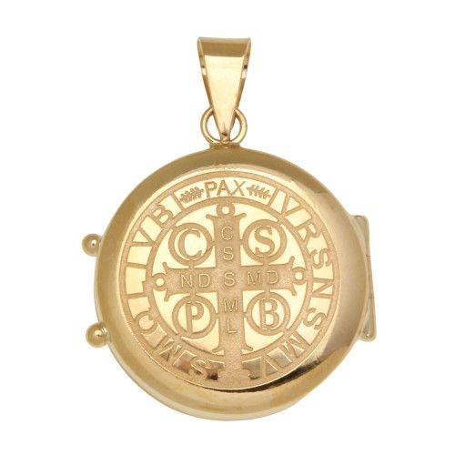 Pingente em Ouro 18k/750 Relicário Redondo São Bento