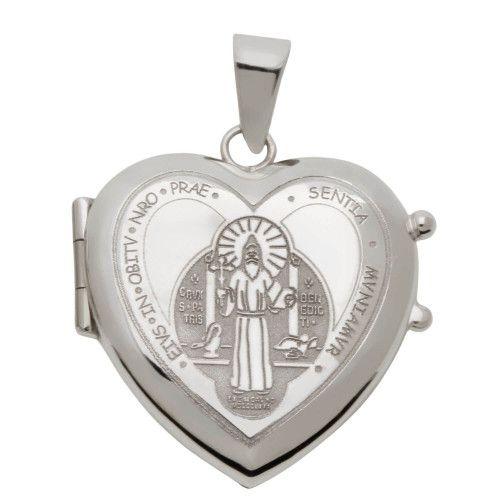 Pingente em Ouro Branco 18k/750 Relicário Coração São Bento