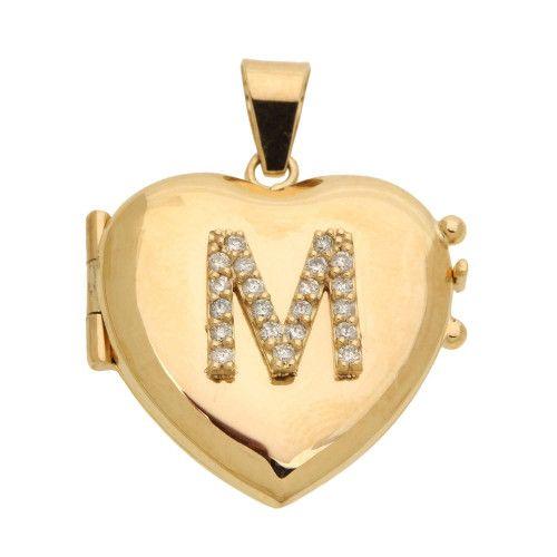 Pingente em Ouro 18k/750 Relicário Coração Abaulado com Pedras