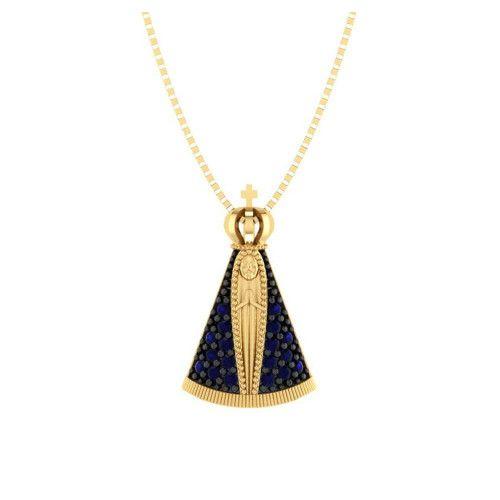 Pingente em Ouro 18k/750 Nossa Senhora Aparecida 18 Zircônias Pequeno
