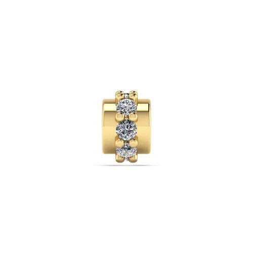 Pingente em Ouro 18k/750 Separador com Oito Pedras de Zircônia