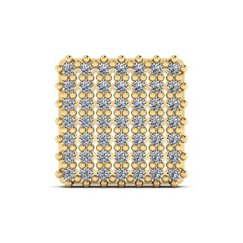 Pingente em Ouro 18k/750 Chuveiro Quadrado com 49 Zircônias