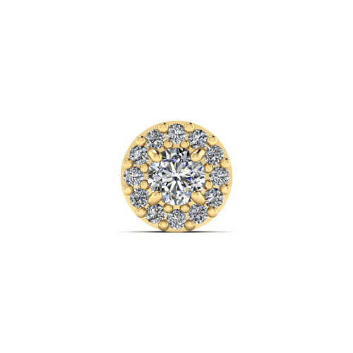 Pingente em Ouro 18k/750 Solitário Galeria com Zircônias