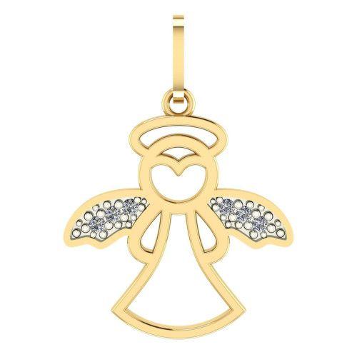 Pingente em Ouro 18k/750 Anjo da Guarda com Pedras de Zircônia