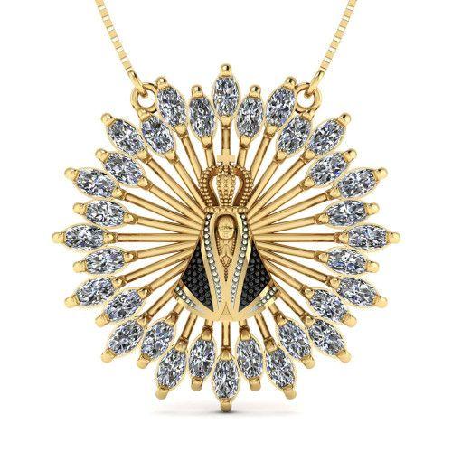 Gargantilha em Ouro 18k/750 Nossa Senhora Aparecida com Navetes