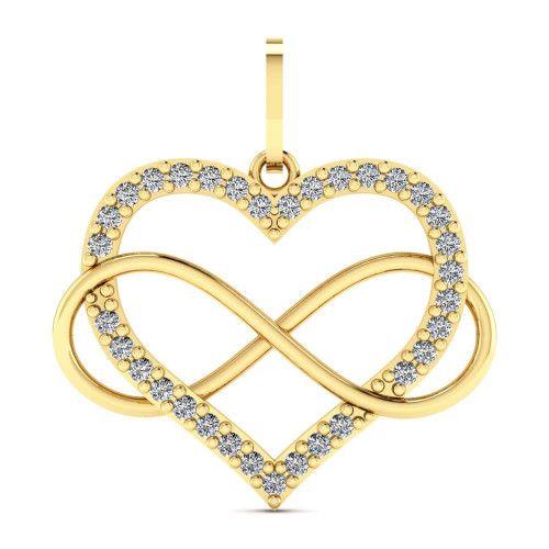 Pingente em Ouro 18k/750 Coração com Infinito