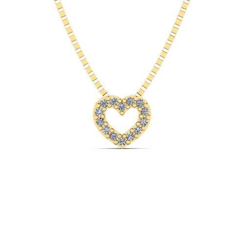 Pingente em Ouro 18k/750 Coração com Diamante e Corrente Veneziana