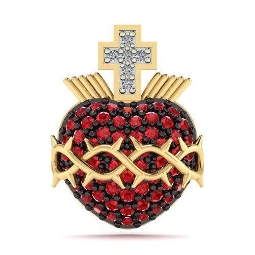 Pingente em Ouro 18k/750 Sagrado Coração de Jesus Pavê