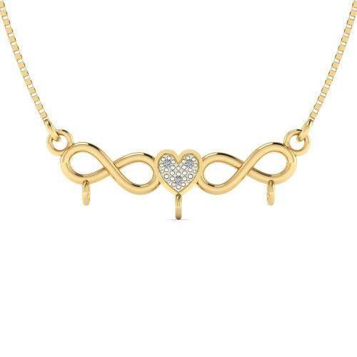 Pingente em Ouro 18k/750 Canga com Coração e Infinito com Diamante