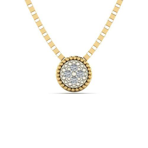 Pingente em Ouro 18k/750 Chuveiro Redondo com Diamante com Corrente
