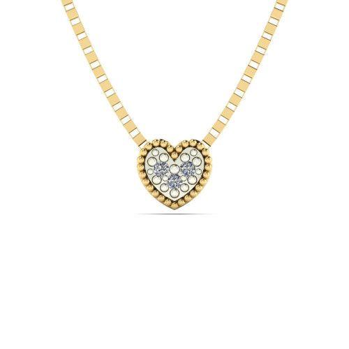 Gargantilha em Ouro 18k/750 Chuveiro Coração com Diamante e Veneziana