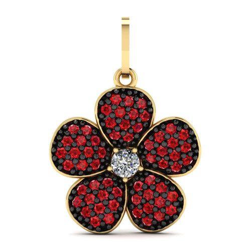 Pingente em Ouro 18k/750 Flor com Zircônias Vermelhas e Ródio Negro