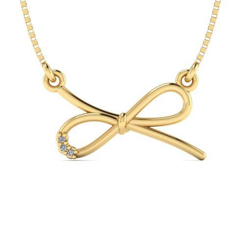 Gargantilha em Ouro 18k/750 Laço com Diamante e Veneziana
