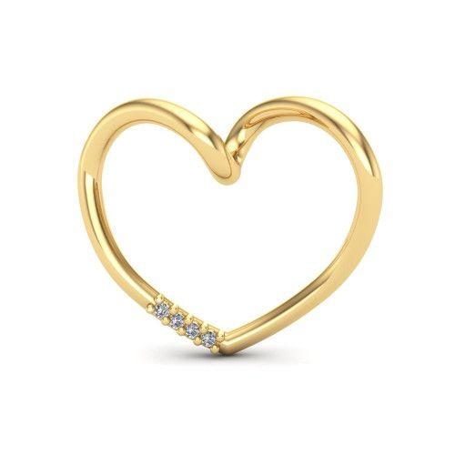 Pingente em Ouro 18k/750 Pingente Coração com Diamante