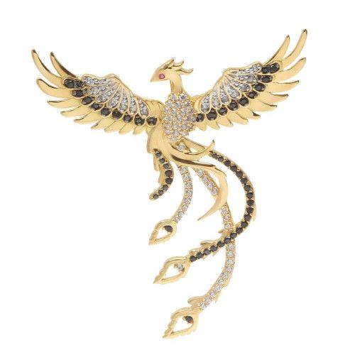 Pingente em Ouro 18k/750 Fenix com Zircônias Cravejadas