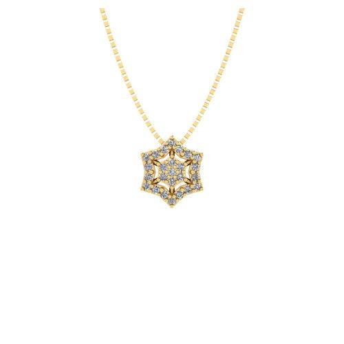 Gargantilha em Ouro 18k/750 Sextavo com Pedras de Zircônia e Corrente Veneziana