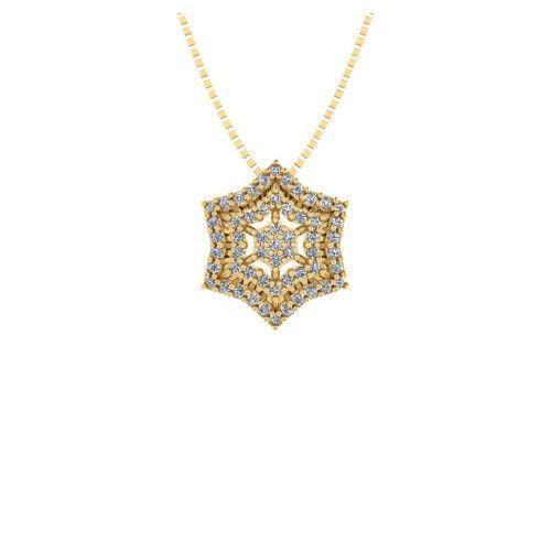Gargantilha em Ouro 18k/750 Sextavo Estrela com Pedras de Zircônia com Corrente Veneziana