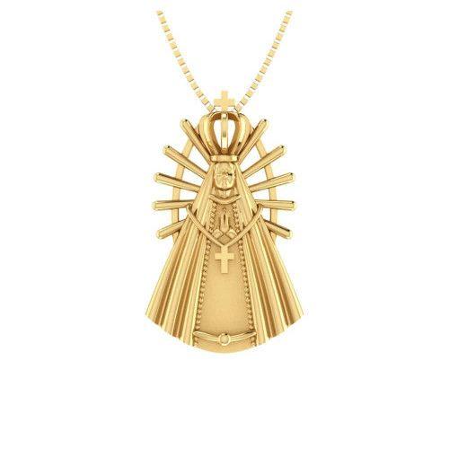 Pingente em Ouro 18k/750 de Nossa Senhora Aparecida Grande