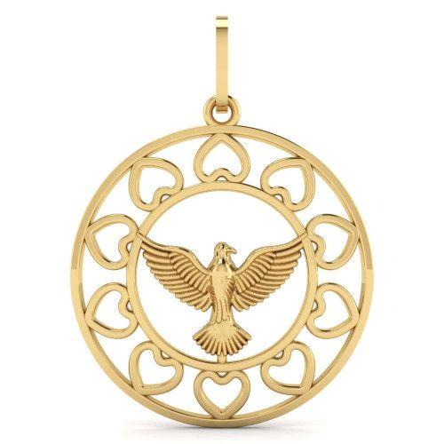 Pingente em Ouro 18k/750 Espírito Santo com Coração