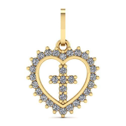 Pingente em Ouro 18k/750 Cruz com Coração
