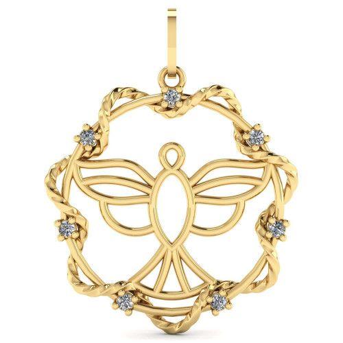 Pingente em Ouro 18k/750 Mandala Espírito Santo com Zircônias