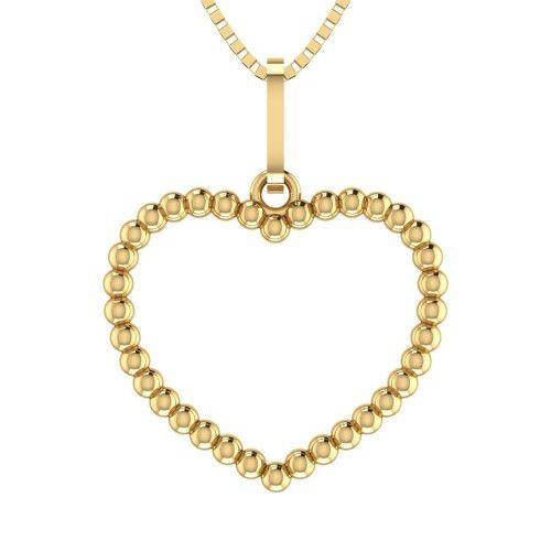 Pingente em Ouro 18k/750 Coração Bolinha