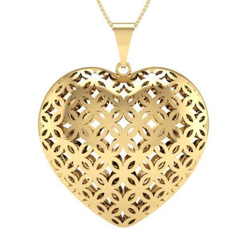 Pingente em Ouro 18k/750 Coração Duplo Vazado