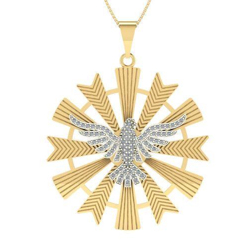 Pingente em Ouro 18k/750 Mandala Espirito Santo 88 com Zircônia