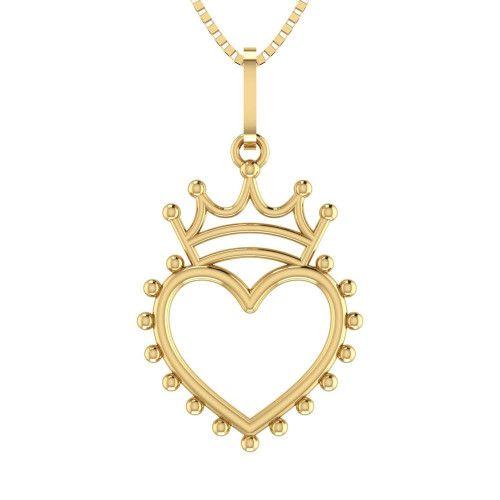 Pingente em Ouro 18k/750 Coroa com Coração Liso