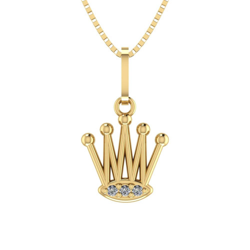 Pingente em Ouro 18k/750 Coroa com Zircônia