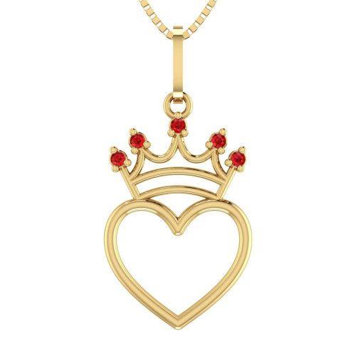 Pingente em Ouro 18k/750 Coração com Coroa Cravejado co Zircônia Vermelha
