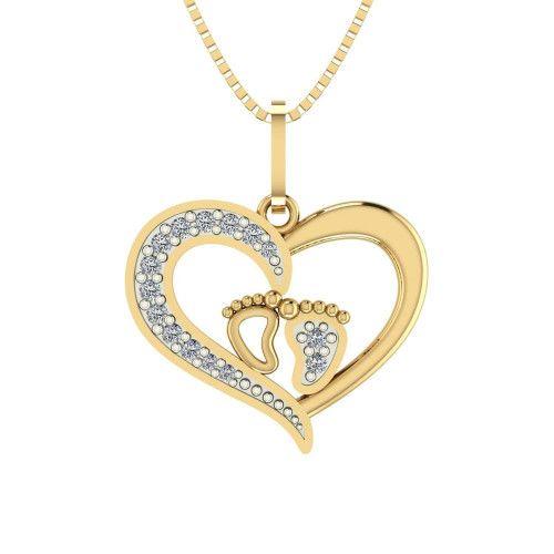 Pingente em Ouro 18k/750 Coração com Pezinhos e Zircônia