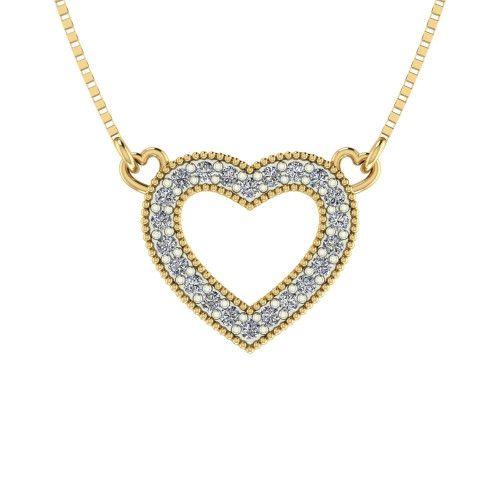 Gargantilha em Ouro 18k/750 Coração com Zircônia Pequeno