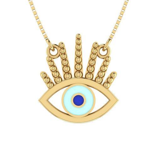 Gargantilha em Ouro 18k/750 Olho Grego com Resina