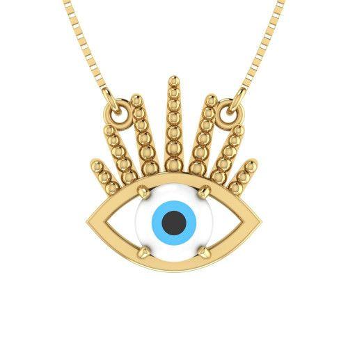 Gargantilha em Ouro 18k/750 Olho Grego com Pedra