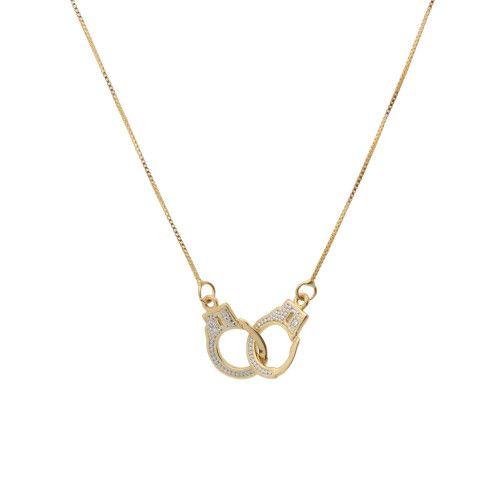 Gargantilha em Ouro 18k/750 Algema com Diamante e Corrente Veneziana