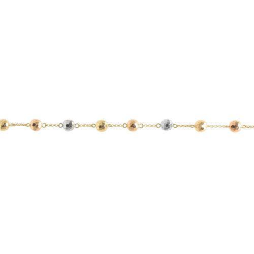 Pulseira em Ouro 18k/750 Bola 7mm Diamantada Tricolor 21cm