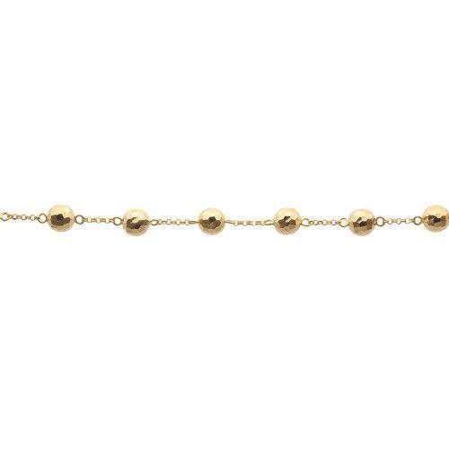 Pulseira em Ouro 18k/750 Bola 7mm Diamantada 20cm
